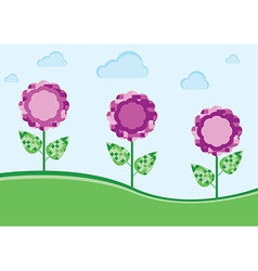 Purple flowers in the meadow vector