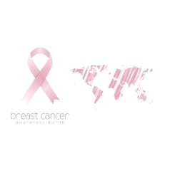 Breast cancer awareness pink ribbon and grunge map vector