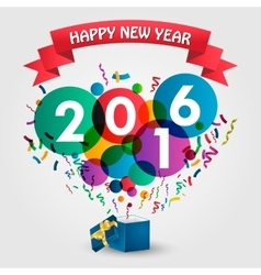 Happy new year 2016 celebration with gift box vector