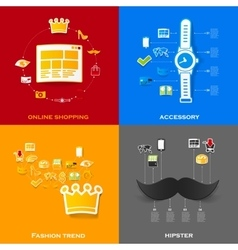 Set of modern stickers fashion vector