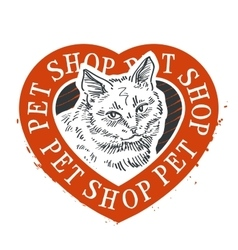 Pet shop logo design template cat head or vector