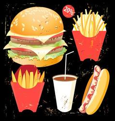 Bright cover for fast food menu hamburger vector