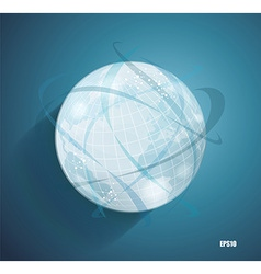 Abstract globe symbol with smooth shadows and map vector