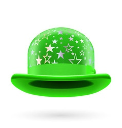 Green starred bowler hat vector