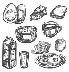 Hand drawn breakfast food vector