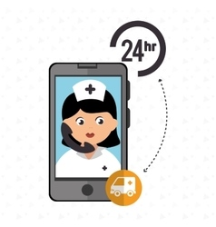 24-hour health ambulance isolated icon design vector