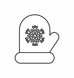 Mitten with white snowflake icon outline style vector