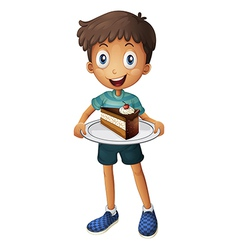 A smiling boy with cake vector