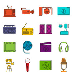 audio and video icons doodle set vector image