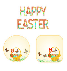 buttons happy easter basket with easter eggs vector image vector image