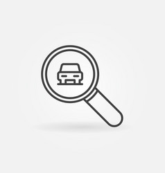 car in magnifying glass outline icon vector image vector image