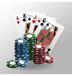 cards of poker and chips design vector image vector image