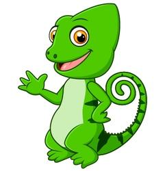 Cartoon funny green lizard posing vector image