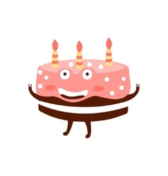 Chocolate Birthday Cake With Three Candles vector image vector image