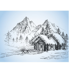 christmas background house in the snow landscape vector image