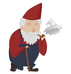 classic gnome smoking vector image vector image