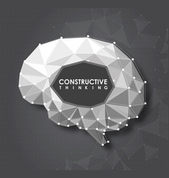 conceptual polygonal brain abstract vector image vector image