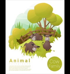 Cute animal family background with cows 3 vector
