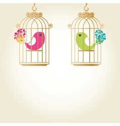 Cute love birds in birdcage vector image