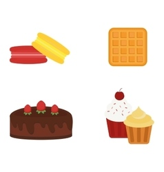 Different cakes isolated vector image
