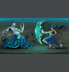 fighting scene between elf and sea monster vector image