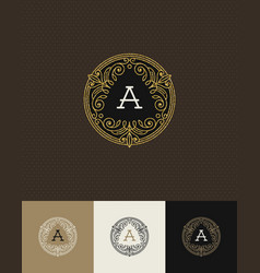 Flourishes glitter gold monogram logo vector