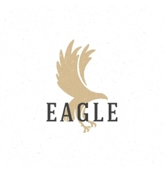 Flying eagle hand drawn logo emblem template vector