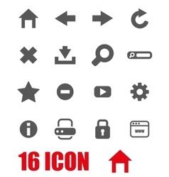grey browser icon set vector image vector image