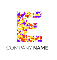 Letter e logo with purple yellow red particles vector