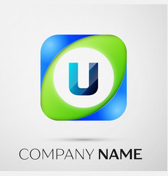 Letter u logo symbol in the colorful square vector