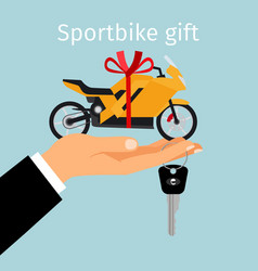 man hand holding gift sportbike vector image