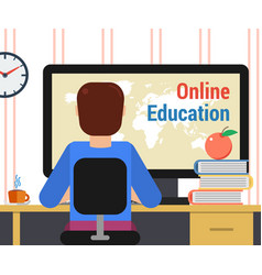Man with computer and getting education online vector