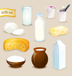 Milk products set vector