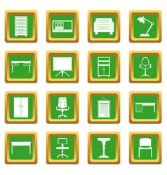 Office furniture icons set green vector