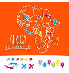 Papercut style travel map of africa with pins vector
