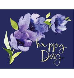 Postcard watercolor blue flowers vector