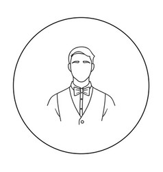 Restaurant waiter with a bow tie icon in outline vector