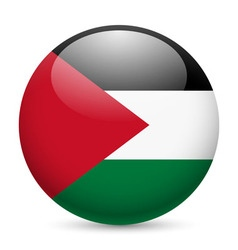 Round glossy icon of palestine vector