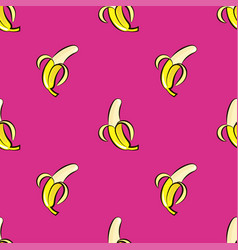 Seamless pattern with hand drawn bananas on vector