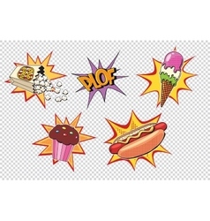 Set fast food and sweets pop art style vector