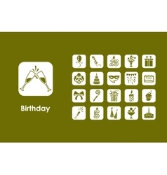 Set of birthday simple icons vector image