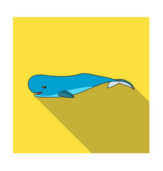 sperm whale icon in flat style isolated on white vector image