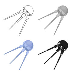 Sputnik one icon in cartoon style isolated on vector