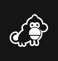 Stylish black and white icon small chimpanzee vector
