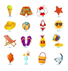 Summer holidays icon set vector