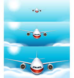 Three scenes of airplane flying in the sky vector