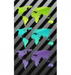three world maps vector image vector image