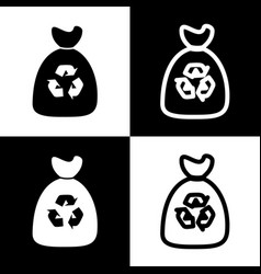 Trash bag icon black and white icons and vector
