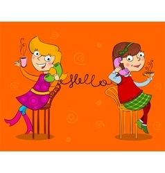 Two cartoon girls talking telephone vector
