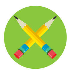 Two pencil icon flat logo vector